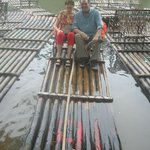 Analee & James at Yulong bamboo boat.