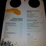 Room Service Menu for Breakfast