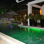 Swimming pool and casual dining area