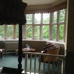 Room 28, bed and bay window