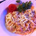 spaghetti met garnalen in romige saus