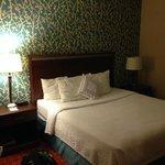 Comfy but hard mattress. Dark room.