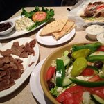 Greek Salad, Feta and Olives Appetizer and Gyro