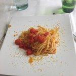 spaghetti pomodorini e bottarga, non per celiaci