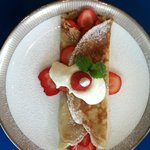 Strawberries and creme crepe