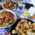 chocos fritos, saplicon e insalata di polpo