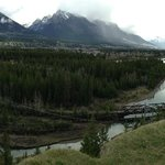 180 degree pan shot of Bow River from high bluff Canmore, AB