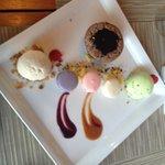 Dessert : Macarons, Lava Cake, Vanilla Bean Ice Cream and, Pistachio Ice Cream
