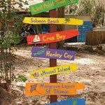 Cute signs at Honeymoon Beach