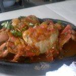 Caranguejo ao Molho de Tomate, Coentro e Pimentão