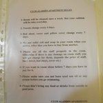Rules which were put in every room on my last day