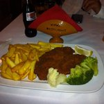 Chicken fillet schnitzel.... Delicious Huge portion. Perfect service and great price. I will go