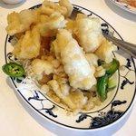 Piping hot, tender, crispy Salt Baked Squid
