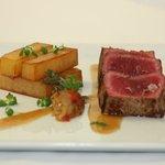 Sir Loin Steak Tataki with Braised Bone Marrow