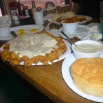 Texas size country fried steak... even the biscuit was huge