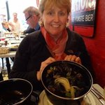 eating the delicious steamed mussels