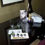 Champagne included in package. Specially ordered chocolate strawberries