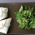 Grilled aubergine & pepper sandwich