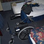 Wheelchair won't fit between the beds