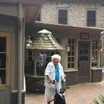 Grandmother at the entrance to the Inn