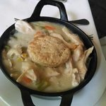 Awesome chicken pot pie with fresh vegetables that just pop and savory chicken on a biscuit.