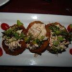 Pomodoro Verde~LA crab remoulade on pan fried green tomato, organic herbs garden grown on premis