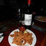 Anatra alla Noce & Malbec~almond breaded duck tenderloins with spicy pomodoro dipping sauce