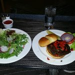 Room service: black bean veg burger and salad