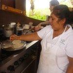 Inez showing us how to make tortillas