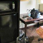 Microwave/fridge and work desk
