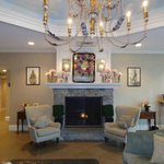 The lovely lobby complete with fireplace & fragrant flowers