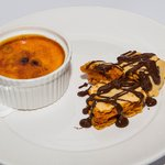Hazelnut creme brulee with soldiers