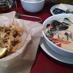 Calamari and curry mussels