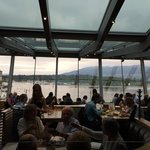 Dining area looking out onto Coal Harbour and Stanley Park. Nice!