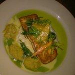 Pan seared salmon, ginger risotto, basil oil, squash puree and citrus salad
