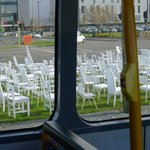 185 Empty Chairs memorial (near CCTV building) one for each life lost in Feb 2011 Earthquake