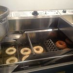 Making our delicious cider donuts!