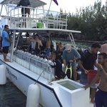The dive boat chartered by Thatch Caye for our dive group.