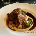 Lamb two ways. Braised Shoulder, roast cutlet with rosemary scented puree heirloom carrots & jus