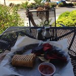 Mexican daredevil panini with chips & salsa out on the patio