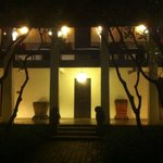 view of one of the houses at night