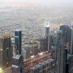 The Chelsea Tower is more or less in the middle of this shot from the 124th floor of the Burj Ka