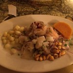 Ceviche Mixto (fish, calamari, shrimps) small portion but satisfying!