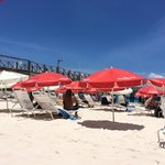 A view of the beach chairs and umbrellas