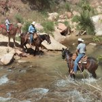 Crossing the river at the end of the ride.