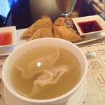 Soup! Just like wonton soup but with chicken inside. Yummmmmmy!!