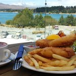 Fish and chips and cappucino