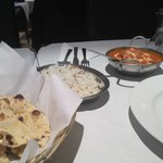 Amazing rice, naan and curry