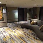 Uniquely designed sofa and carpet at lift lobby