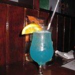 A delicious fruity bleu lagoon drink